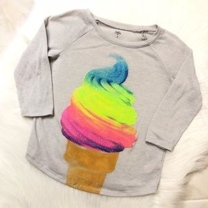 Justice Glitter Embellished Rainbow Ice Cream Top